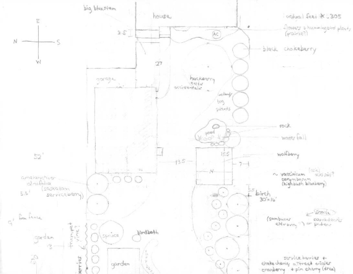 first blueprint for east side of yard